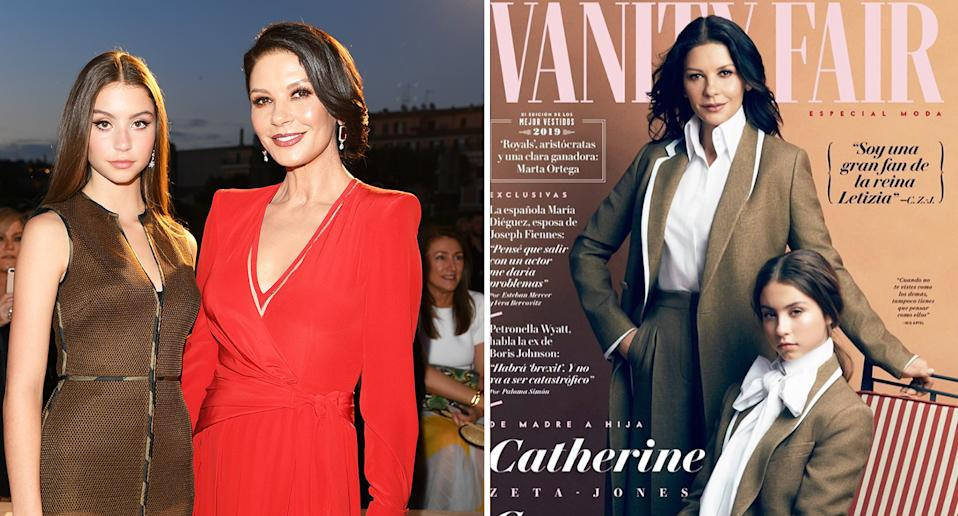 Catherine Zeta-Jones and Carys Douglas at the Fendi Couture Fall Winter 2019/2020 Show (left) and starring on the front of Vanity Fair Spain. [Photo: Getty/Instagram]