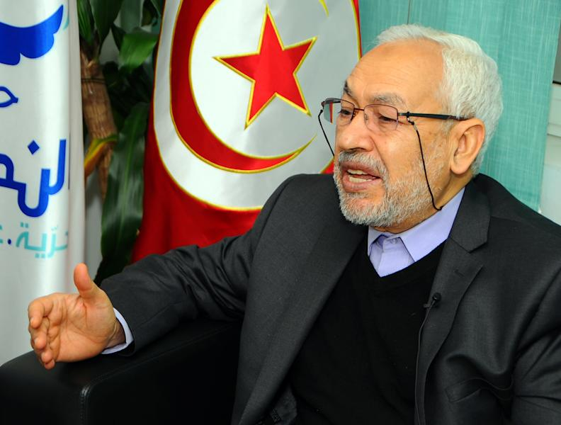 Rachid Ghannouchi, leader of the Tunisian moderate Islamist Ennahda party, answers the Associated Press, Monday, Feb. 11, 2013. An agreement is imminent on a new national unity government for Tunisia to resolve the simmering political crisis brought on by the assassination of an opposition politician, the leader of the powerful Islamist party, Rachid Ghannouchi, told the Associated Press Monday. (AP Photo/Hassene Dridi)