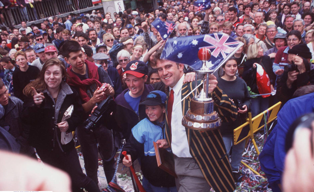 01 JUNE 1995 - MARK TAYLOR AT SYDNEY'S TICKERTAPE PARADE  FOR THE AUSTRALIAN CRICKET TEAM WHICH BEAT THE WEST INDIES.  (Photo by Patrick Riviere/Getty Images)