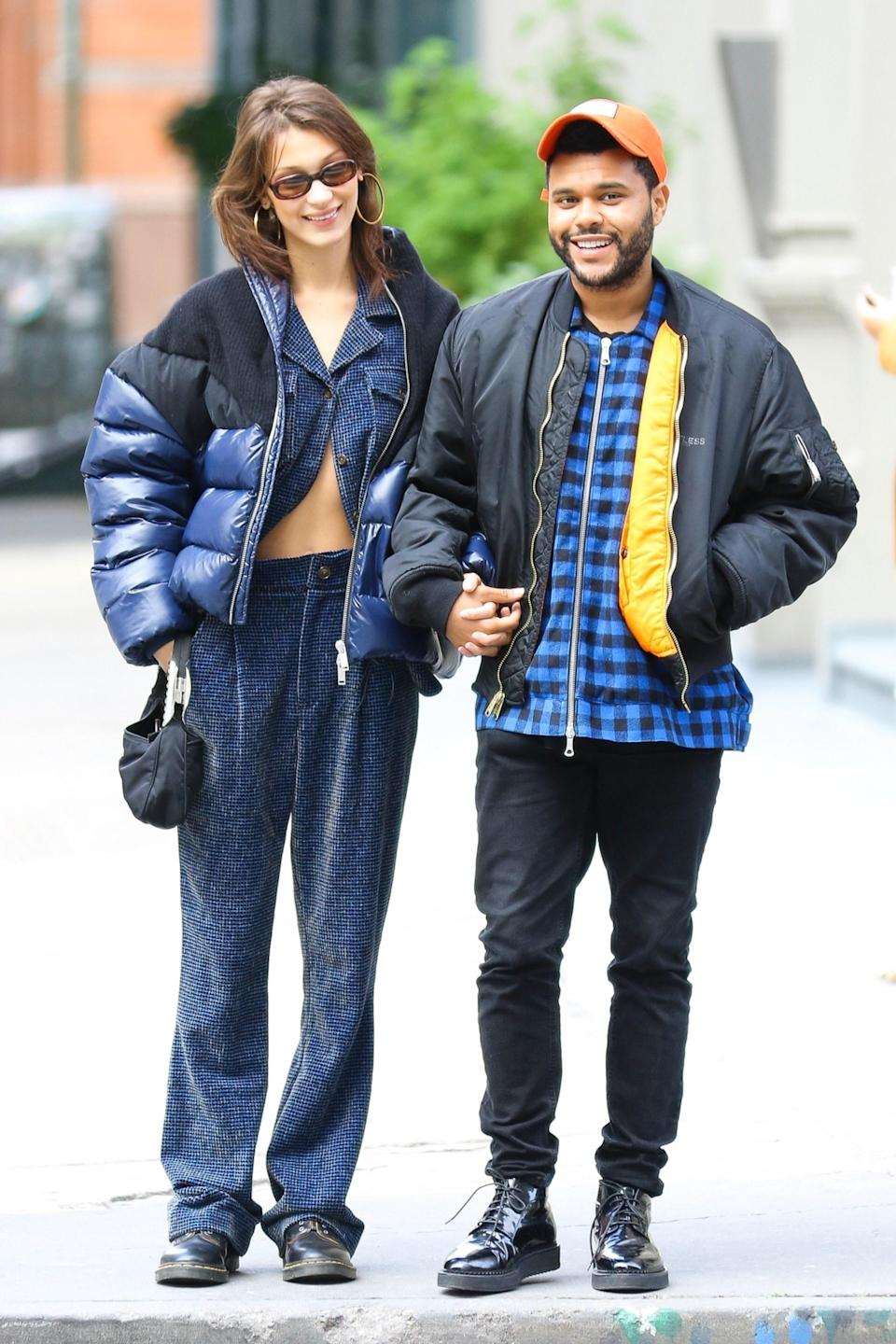 "New York, NY  - On-again couple Bella Hadid and The Weeknd are all smiles as they hold hands while on a stroll in New York. The pair, who are now living together, seem to be stronger than ever as they reportedly consider themselves ""unofficially engaged.""Pictured: Bella Hadid, The WeekndBACKGRID USA 29 OCTOBER 2018 USA: +1 310 798 9111 / usasales@backgrid.comUK: +44 208 344 2007 / uksales@backgrid.comUK Clients - Pictures Containing ChildrenPlease Pixelate Face Prior To Publication"