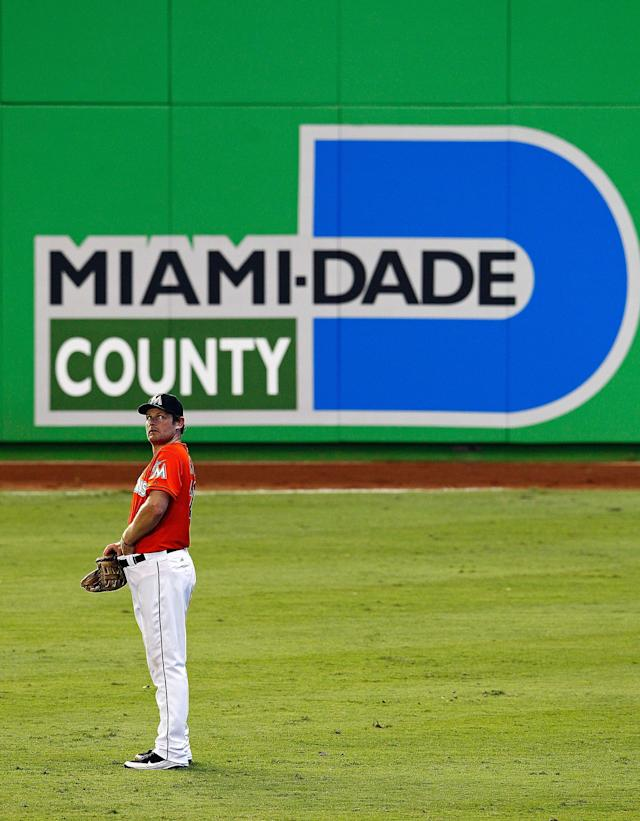 MIAMI, FL - APRIL 01: Austin Kearns #26 of the Miami Marlins looks on during a game against the New York Yankees at Marlins Park on April 1, 2012 in Miami, Florida. (Photo by Mike Ehrmann/Getty Images)