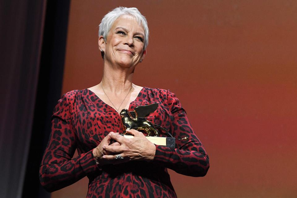"""Jamie Lee Curtis acknowledges received a Golden Lion for lifetime achievement at the 78th Venice Film Festival, where """"Halloween Kills"""" premiered last month."""
