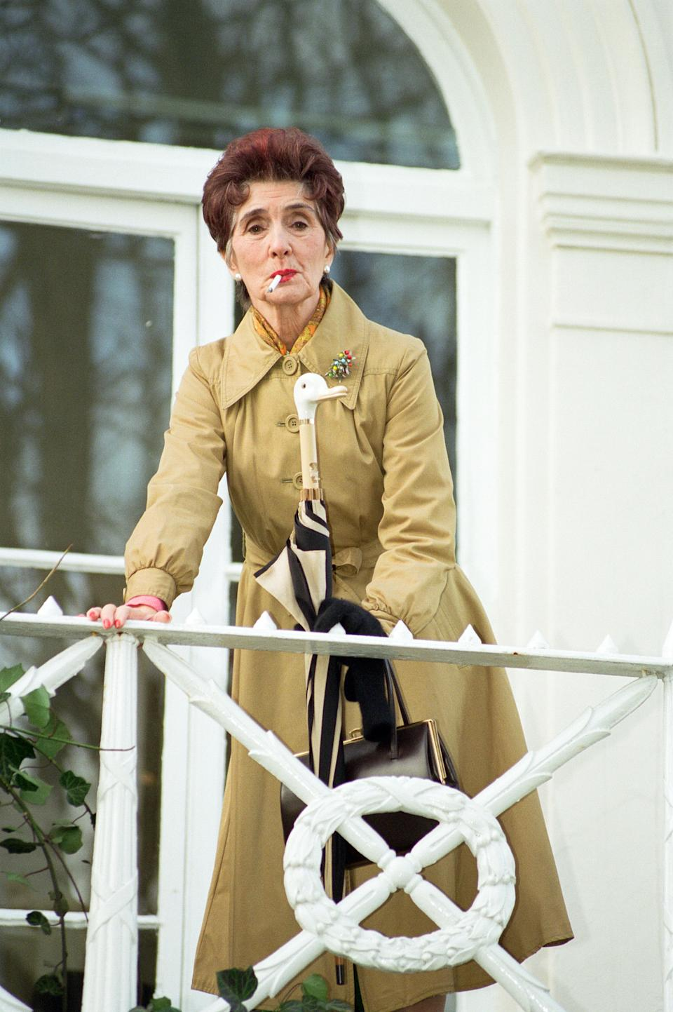 Dot Cotton, played by June Brown, is set to return to EastEnders on 14th April. She is pictured in Gravesend, 25th February 1997. (Photo by Alisdair MacDonald/Mirrorpix/Getty Images)