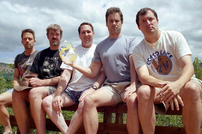 """2002: The men have been adamant about returning every five years for the photo. Once, they were together early for the shoot, and Rumer declined to participate in the photo. """"It wasn't every five years!"""" he explains. Wardlaw notes, """"We all thought, 'In 20 years, what if we all don't know each other?' By vowing to take a photo every five years, it would be a way to stay in touch."""" (Courtesy of John Wardlaw)"""