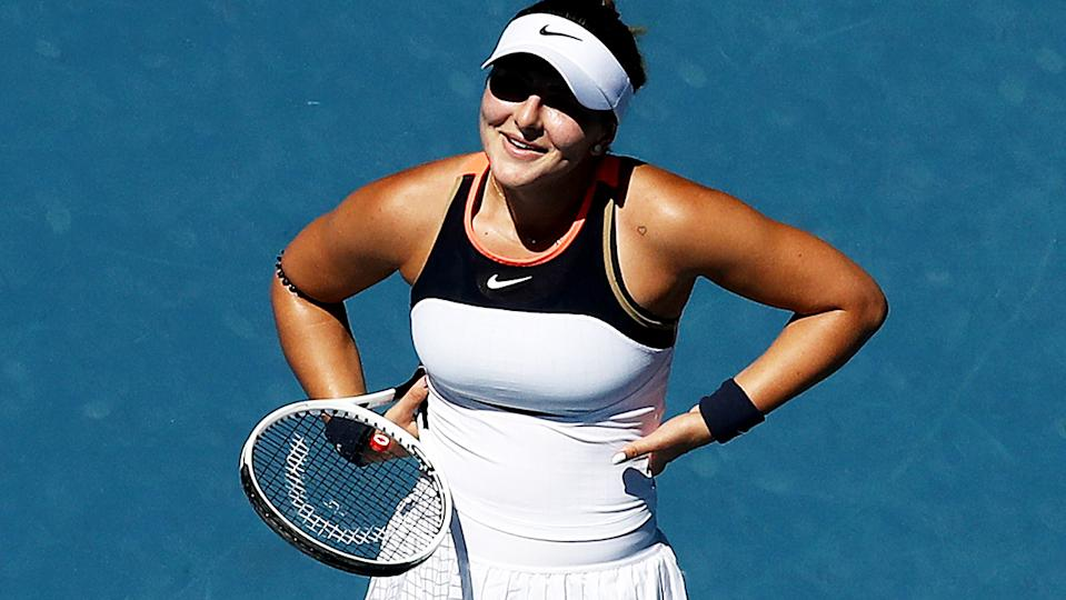 Bianca Andreescu, pictured here during her clash with Su-Wei Hsieh at the Australian Open.