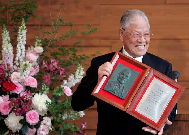 FILE PHOTO: Former Taiwan president Lee receives a Shinpei Goto prize in Tokyo
