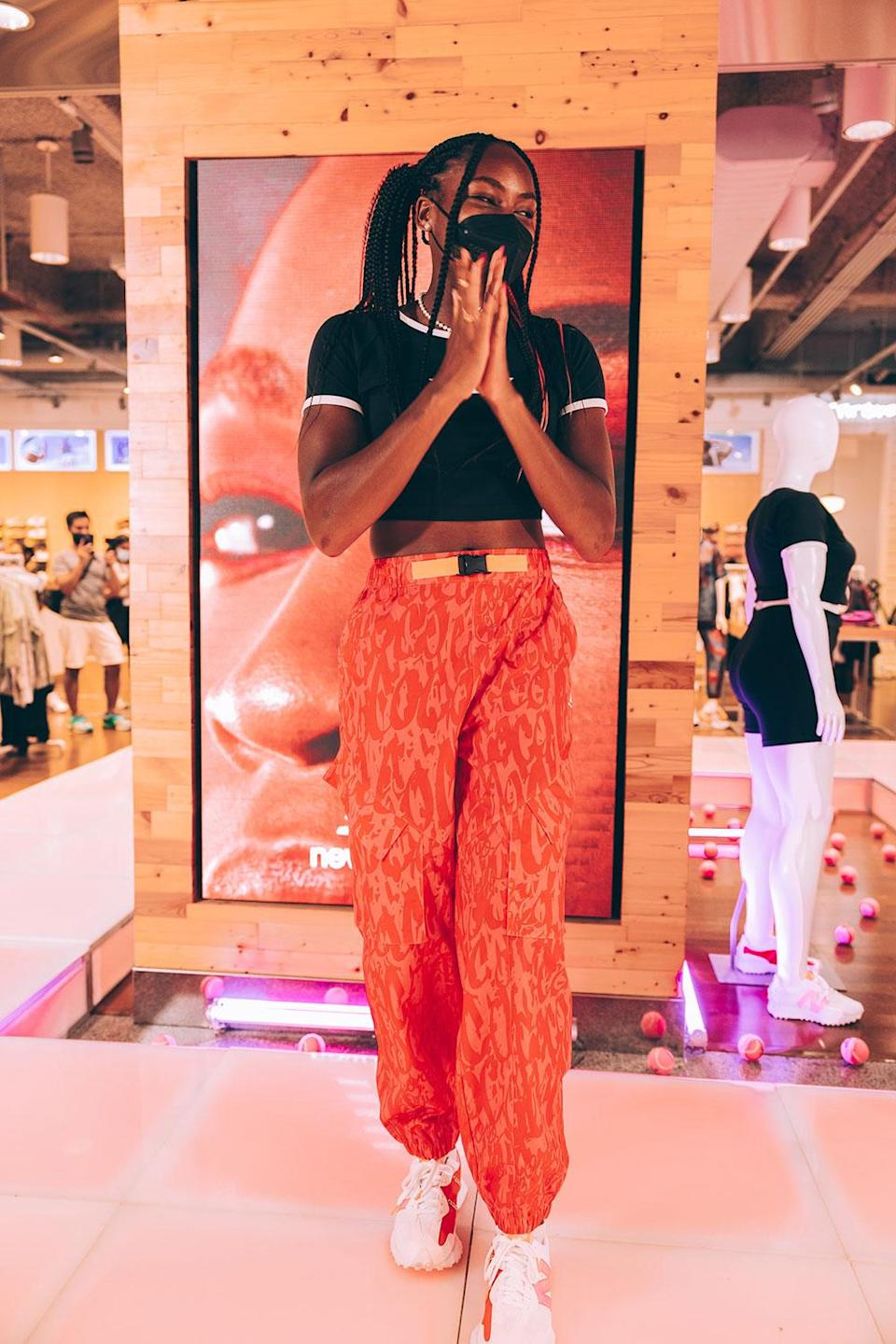 <p>wearig New Balance 327 at the drop of the New Balance Coco Gauff Collection, exclusively with Foot Locker Women, at Foot Locker's 34th Street location on Aug. 26. </p>