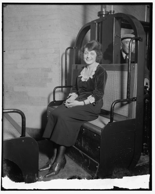 This 1905 image courtesy of the Library of Congress, shows Mable Talbot, a Senate secretary, riding the subway (AFP/Handout)