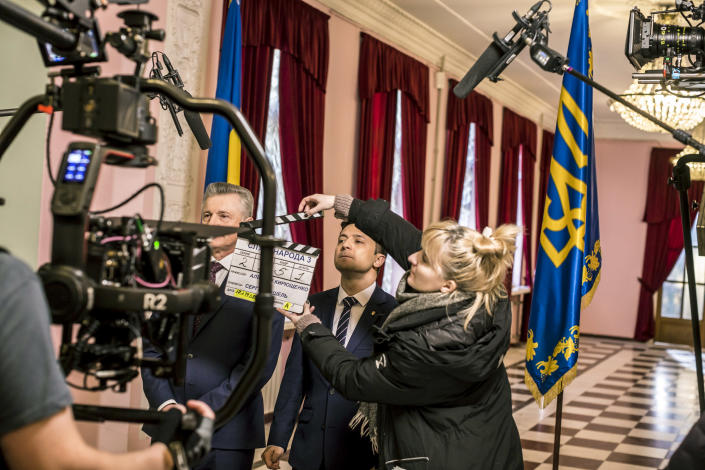 Volodymyr Zelensky, a then Ukrainian presidential candidate, during the filming of his television show in Kiev, Ukraine, Feb. 17, 2019. (Brendan Hoffman/The New York Times)