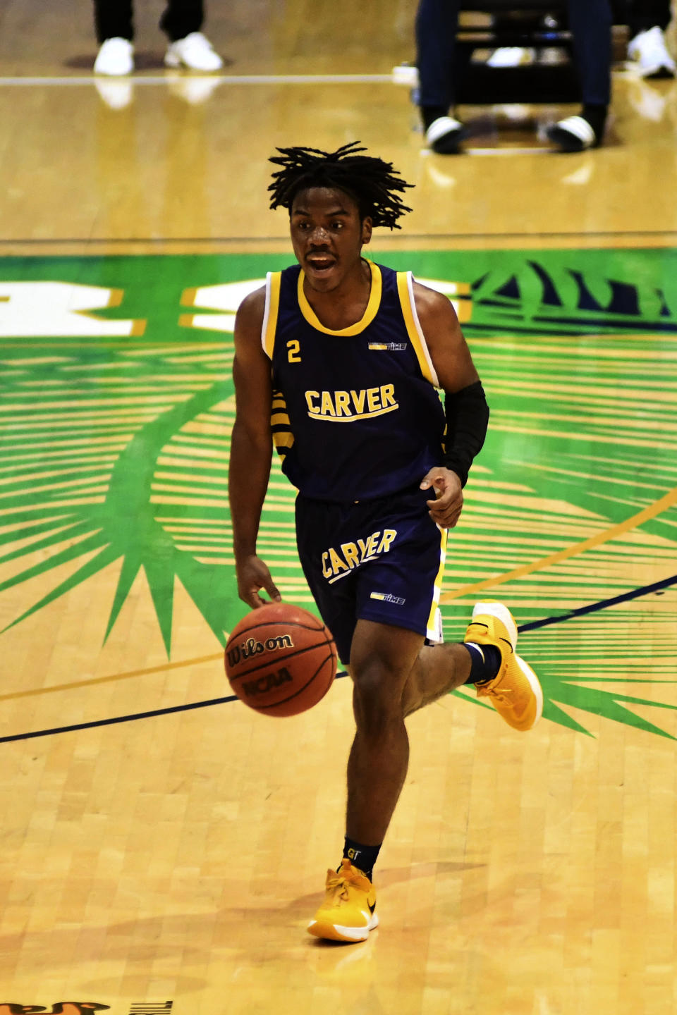 Carver College guard Chris Iverson brings the ball down court during the second half of an NCAA college basketball game against Florida International Monday, Dec. 21, 2020, in Miami. (AP Photo/Gaston De Cardenas)