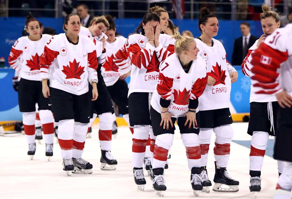 <p>Team Canada reacts after losing in a shootout to United States during the Women's Gold Medal Game on day thirteen of the PyeongChang 2018 Winter Olympic Games at Gangneung Hockey Centre on February 22, 2018 in Gangneung, South Korea. (Photo by Jamie Squire/Getty Images) </p>