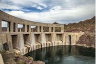 """<p>For 242 miles, the <a href=""""https://www.asce.org/project/colorado-river-aqueduct/"""" rel=""""nofollow noopener"""" target=""""_blank"""" data-ylk=""""slk:Colorado River Aqueduct"""" class=""""link rapid-noclick-resp"""">Colorado River Aqueduct</a> siphons water from the Colorado River, using canals, tunnels, and pumps to move the water toward the parched lands of Southern California. The aqueduct was opened in 1939 and used various systems to continually move water up and over mountains to the places not naturally served by rivers, making it possible for cities like Los Angeles and San Diego to grow.</p>"""