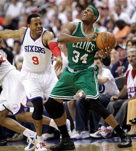 76ers Andre Iguodala smacks across the face of Celtics Paul Pierce. The Philadelphia 76ers host the Boston Celtics in Game 4 of the eastern conference semi-finals at the Wells Fargo Center Friday, May 18, 2012. (AP Photo/Suchat Pederson, The News Journal)