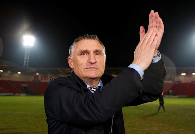 "Soccer Football - League One - Doncaster Rovers v Blackburn Rovers - Keepmoat Stadium, Doncaster, Britain - April 24, 2018 Blackburn Rovers manager Tony Mowbray applauds fans after the match Action Images/Lee Smith EDITORIAL USE ONLY. No use with unauthorized audio, video, data, fixture lists, club/league logos or ""live"" services. Online in-match use limited to 75 images, no video emulation. No use in betting, games or single club/league/player publications. Please contact your account representative for further details."