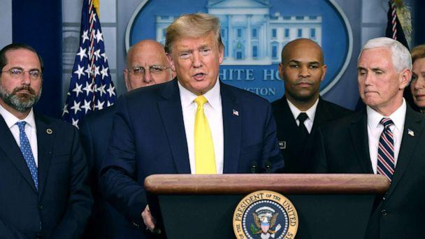 PHOTO: President Donald Trump speaks about COVID-19 alongside Vice President Mike Pence and members of the Coronavirus Task Force in Washington, March 9, 2020. (Saul Loeb/AFP via Getty Images)