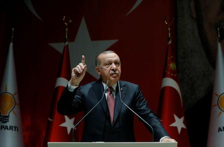Turkish President Erdogan speaks during a meeting of his ruling AK Party in Ankara