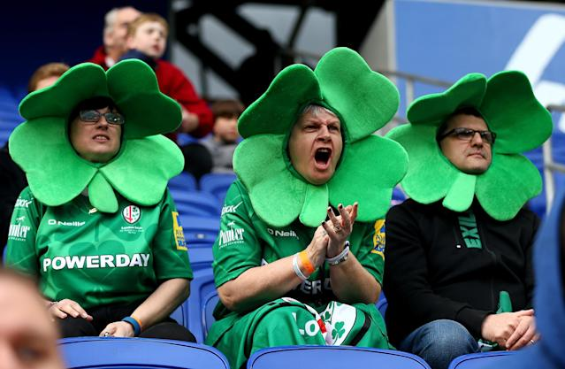 HARRISON, NJ - MARCH 12: London Irish fans cheer on their team in the second half against Saracens during the Aviva Premiership match on March 12, 2016 at Red Bull Arena in Harrison, New Jersey. (Photo by Elsa/Getty Images)
