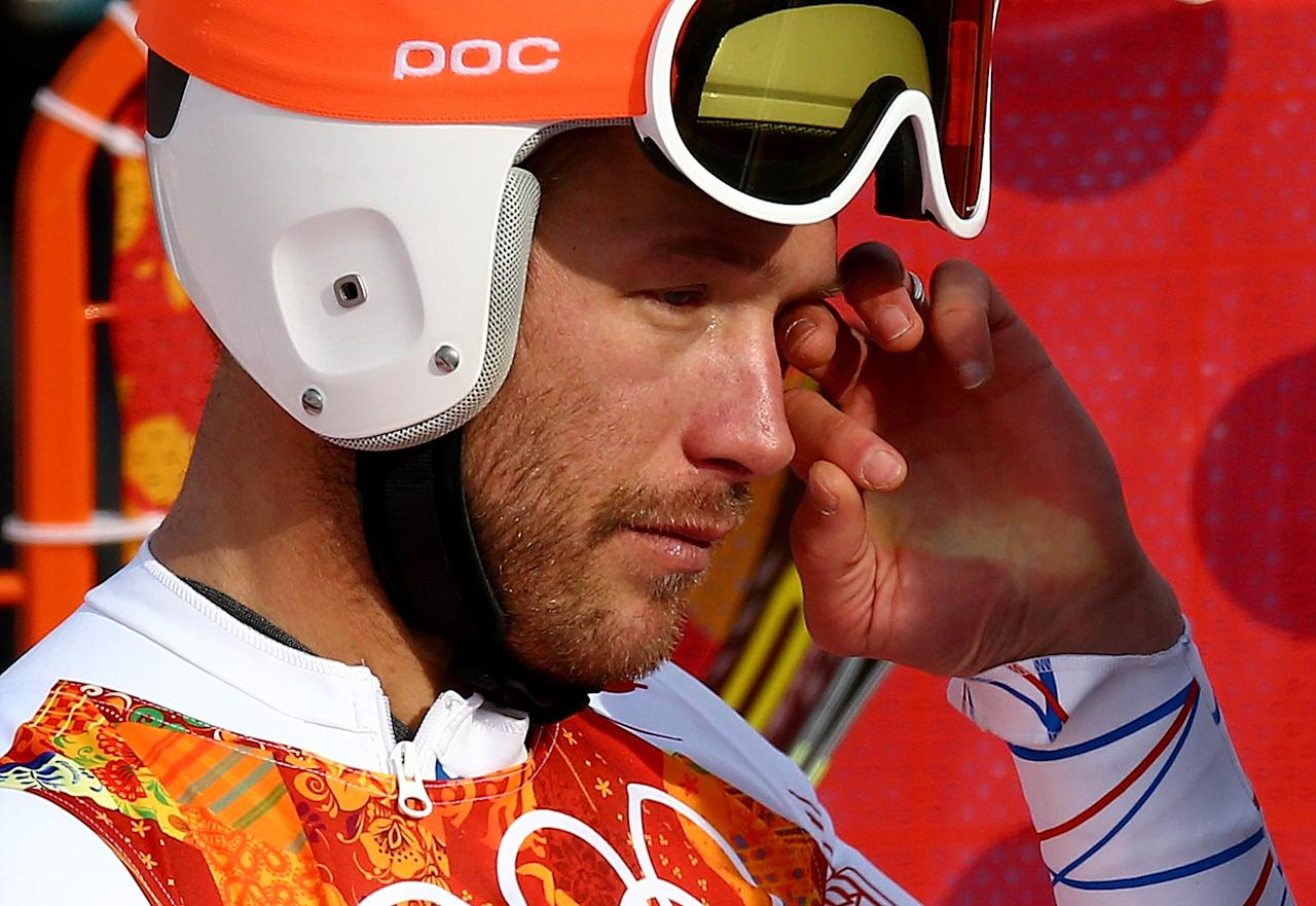 SOCHI, RUSSIA - FEBRUARY 16: Bode Miller of the United States reacts during the Alpine Skiing Men's Super-G on day 9 of the Sochi 2014 Winter Olympics at Rosa Khutor Alpine Center on February 16, 2014 in Sochi, Russia. (Photo by Doug Pensinger/Getty Images)