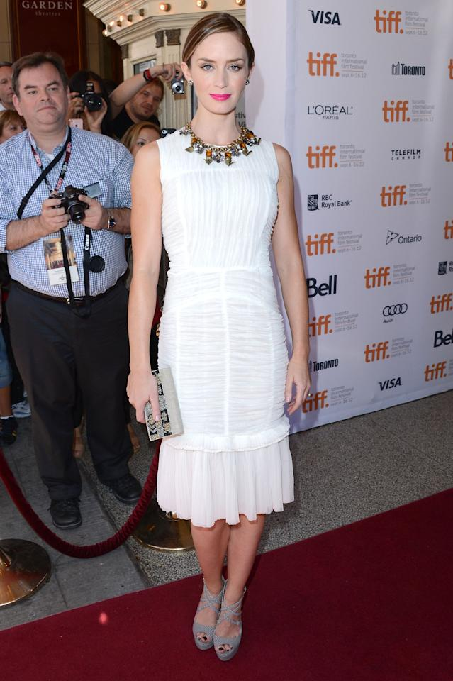 "BEST: Emily Blunt continued <a target=""_blank"" href=""http://ca.movies.yahoo.com/photos/tiff-2012-best-and-worst-dressed-slideshow/emily-blunt-photo-1346980166.html"">her impressive TIFF run</a>, this time at the ""Arthur Newman"" screening. The 29-year-old actress wowed in an entirely eco-friendly outfit from Tory Burch, with her dress made from 100 per cent reclaimed silk and a floral necklace made from recycled brass. Beautiful AND environmentally friendly!"