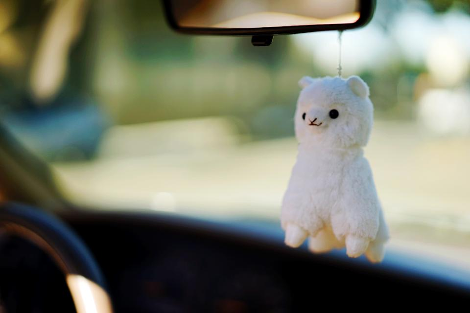 Furry mascot hanging from mirror. Source: Getty Images