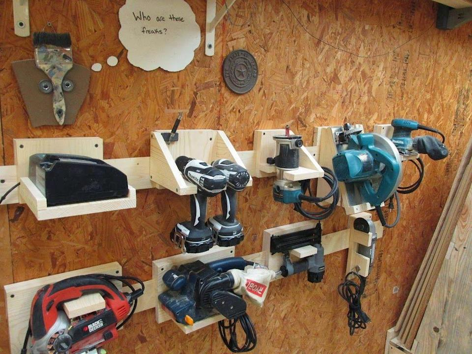 <p>In this example, French cleats are used to secure power tools against the wall for easy access.</p>