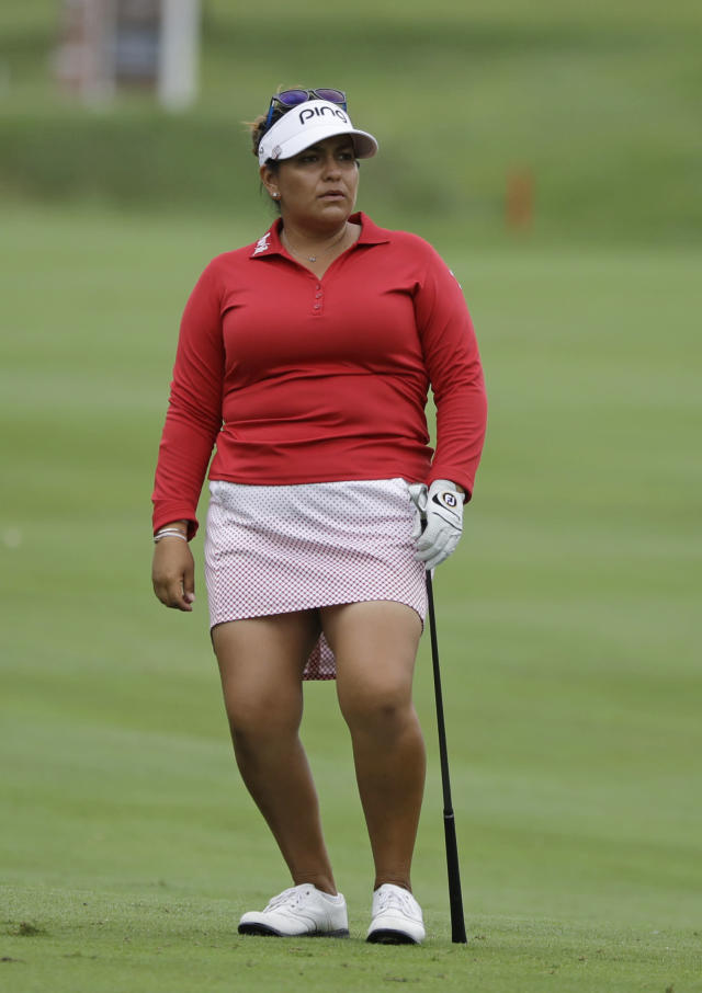 Lizette Salas watches her shot into the sixth green during the second round of the Indy Women in Tech Championship golf tournament, Friday, Aug. 17, 2018, Indianapolis. (AP Photo/Darron Cummings)