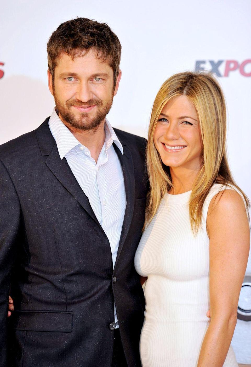 <p>Dating rumors about Jen and Gerard Butler topped headlines when the pair starred in the 2010 film <em>The Bounty Hunter</em>. Their chemistry is undeniable and their banter was spot-on. Also, they look <em>so hot </em>together.  <br></p>