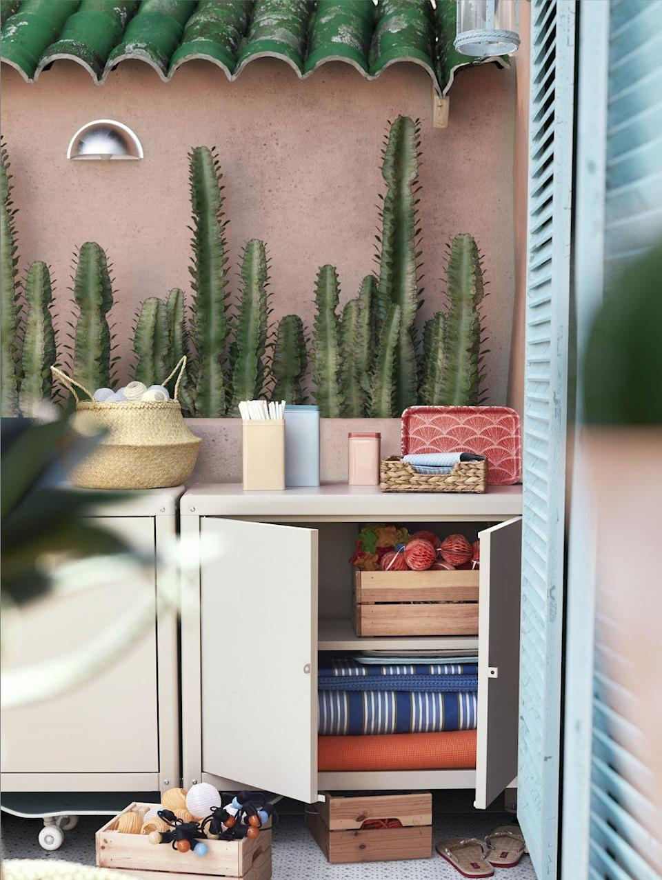 """<p>Who says storage units are simply for inside the home? Tidy away garden accessories with IKEA's practical outdoor storage unit — ideal for smaller spaces. </p><p>""""Limited space shouldn't be a hinderance when creating your personal oasis, playing with storage solutions with different heights will help maximise what you have available,"""" says Rosheen. </p><p><strong>READ MORE</strong>: <a href=""""https://www.countryliving.com/uk/homes-interiors/gardens/g34138057/bulb-planters/"""" rel=""""nofollow noopener"""" target=""""_blank"""" data-ylk=""""slk:7 of the best bulb planters to buy"""" class=""""link rapid-noclick-resp"""">7 of the best bulb planters to buy</a></p>"""