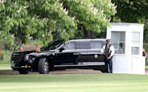 President Trump's formidable customised limousine, dubbed 'The Beast', rolls into the grounds of Buckingham Palace ahead of the President touching down. (Chris Jackson/Getty Images)