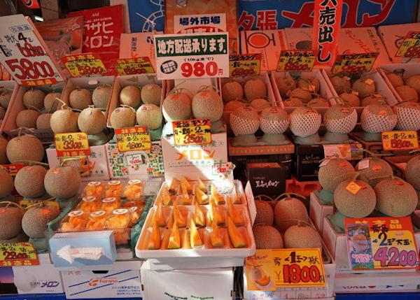 Melons displayed in front of the shop