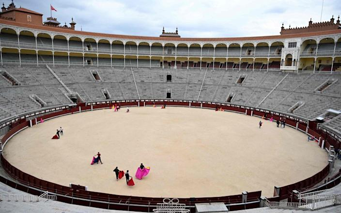 Pupils practice at the Bullfighting School in Las Ventas bullring in Madrid - GABRIEL BOUYS/AFP via Getty Images