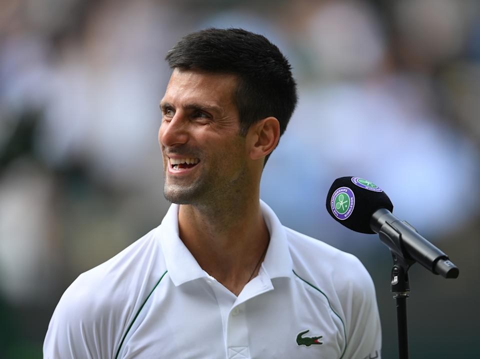 Novak Djokovic (pictured) speaks to the fans after his match against Denis Kudla at Wimbledon.