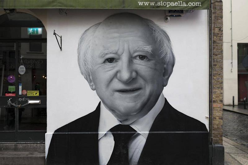 A mural showing Michael D. Higgins, President of Ireland (SUBSET)