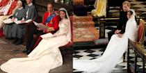 """<p><a href=""""https://www.goodhousekeeping.com/life/relationships/news/a47032/prince-harry-meghan-markle-wedding/"""" rel=""""nofollow noopener"""" target=""""_blank"""" data-ylk=""""slk:Prince Harry and Meghan Markle"""" class=""""link rapid-noclick-resp"""">Prince Harry and Meghan Markle</a> officially tied to the knot on May 19, 2018 at Windsor Castle, and their ceremony has drawn a lot of comparisons to Prince William and Kate Middleton's back in 2011. Here's how these two very different couples made their celebrations their own (and, yes, you can love both!). </p>"""