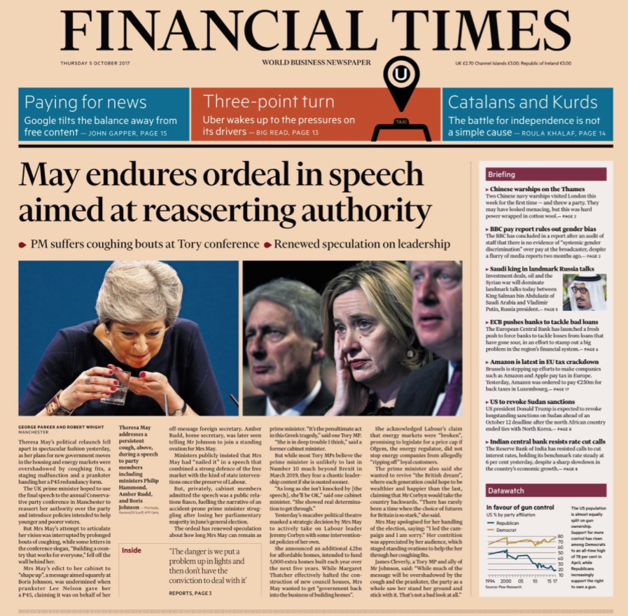<p>The Financial Times placed a picture of Theresa May eating a cough sweet next to a stony-faced Amber Rudd, beneath a headline calling the keynote speech an 'ordeal'. </p>
