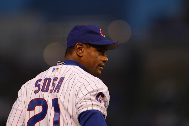 4 Oct 2003: Sammy Sosa of the Chicago Cubs during the Cubs 3-1 victory over the Atlanta Braves in game 3 of the NLDS at Wrigley Field in Chicago, IL. (Photo by Dilip Vishwanat/Sporting News via Getty Images via Getty Images)