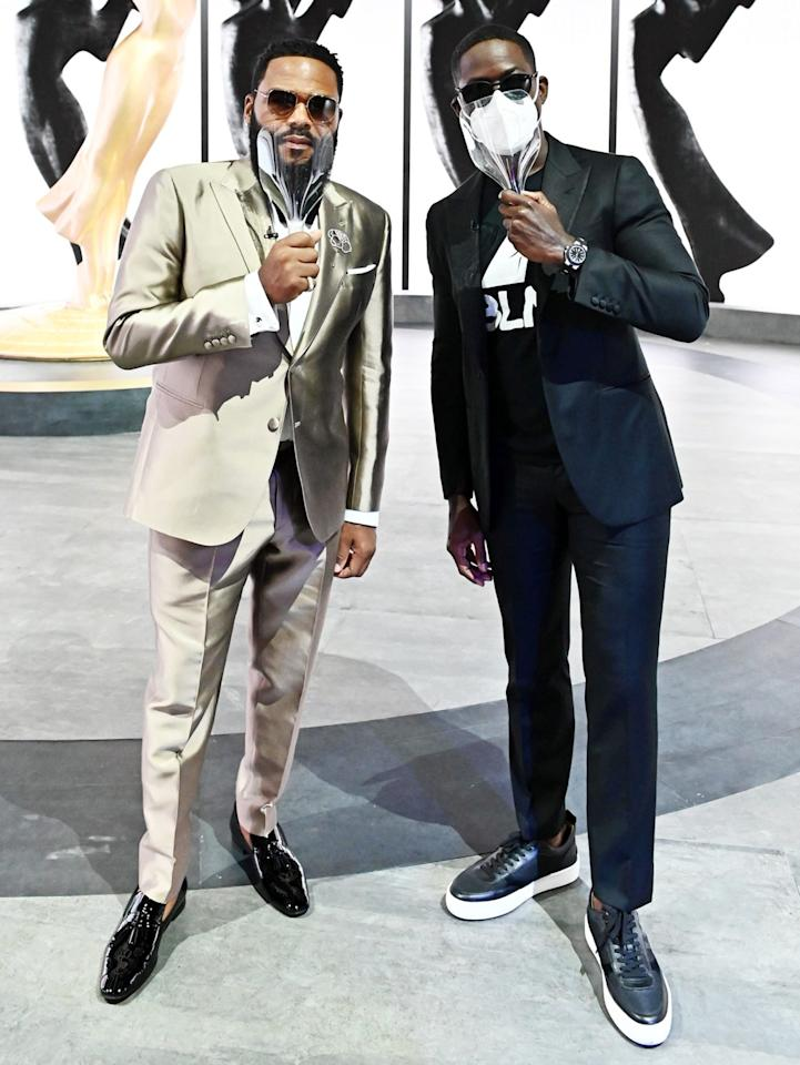 "<p>Anthony Anderson and Sterling K. Brown pose at the <a href=""https://people.com/tv/emmys-2020-winners-list/"">72nd Emmy Awards</a>, hosted by Jimmy Kimmel, on Sunday.</p>"