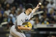 Miami Marlins' Trevor Rogers pitches during the first inning in the second baseball game of a doubleheader against the New York Mets Tuesday, Sept. 28, 2021, in New York. (AP Photo/Frank Franklin II)