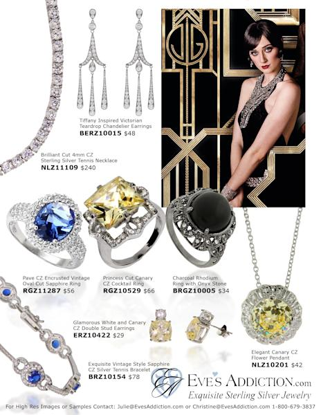 """This image provided by Eves Addiction, shows jewelery inspired by Baz Luhrmann's big screen adaption of """"The Great Gatsby"""". The film is shining a spotlight on Roaring Twenties glam fashions, from drop-waist dresses and head scarves to crisp bow ties and spectator shoes. (AP Photo/Eves Addiction)"""