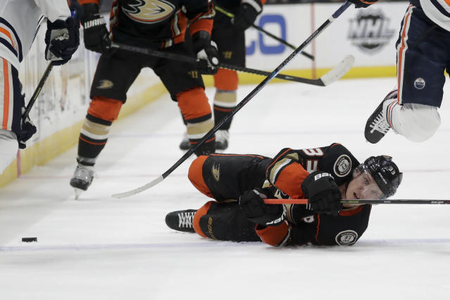 Anaheim Ducks right wing Jakob Silfverberg falls to the ice during the second period of the team's NHL hockey game against the Edmonton Oilers in Anaheim, Calif., Sunday, Nov. 10, 2019. (AP Photo/Chris Carlson)