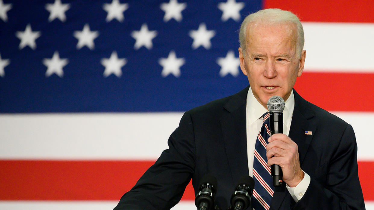Former Vice President Joe Biden arrives to speak at a campaign event in Waukee, near Des Moines, Iowa, January 30, 2020. (Jim Watson/AFP via Getty Images)