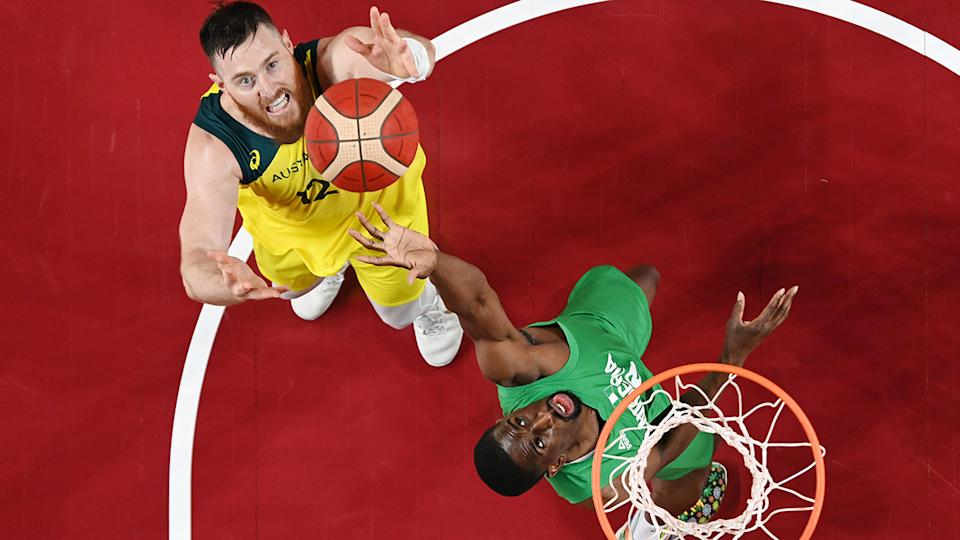 Aron Baynes, pictured here in action for Australia against Nigeria at the Olympics.