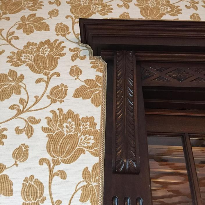 <p>Fenton was able to locate silk wall coverings resembling those that originally highlighted the music room.</p>