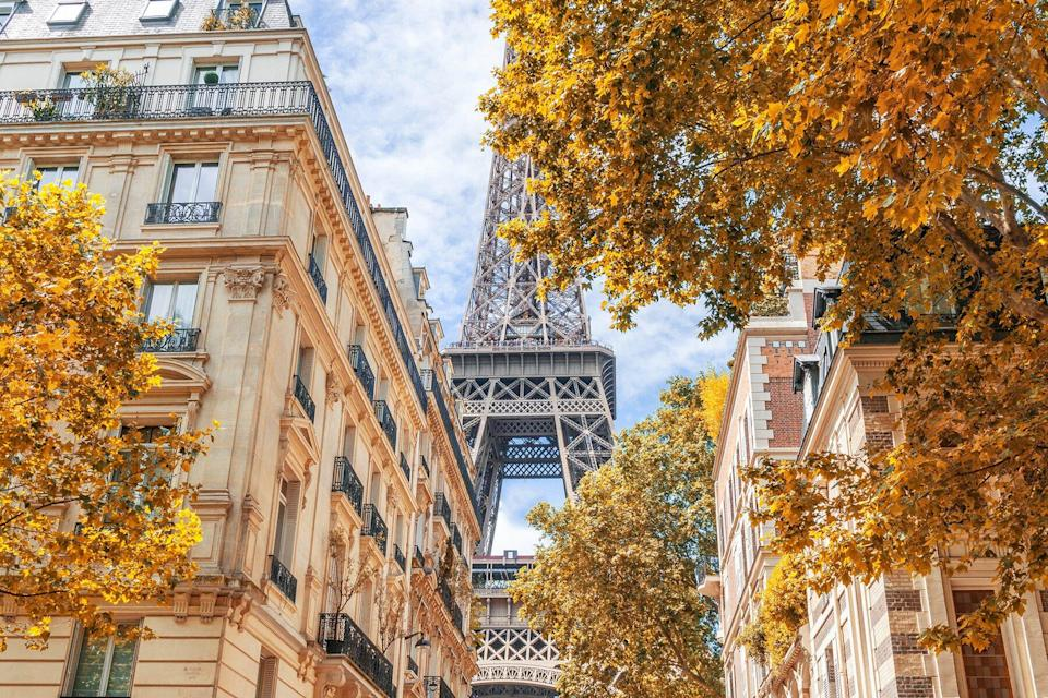 Low Angle View Of Eiffel Tower Against Sky During Autumn