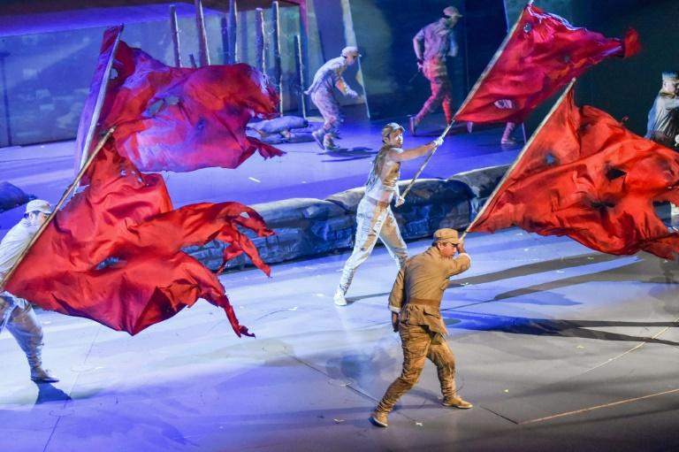 The patriotic 'Battle of Shanghai' acrobatics show depicts 1949 battles between the Communists and Nationalists for control of the city