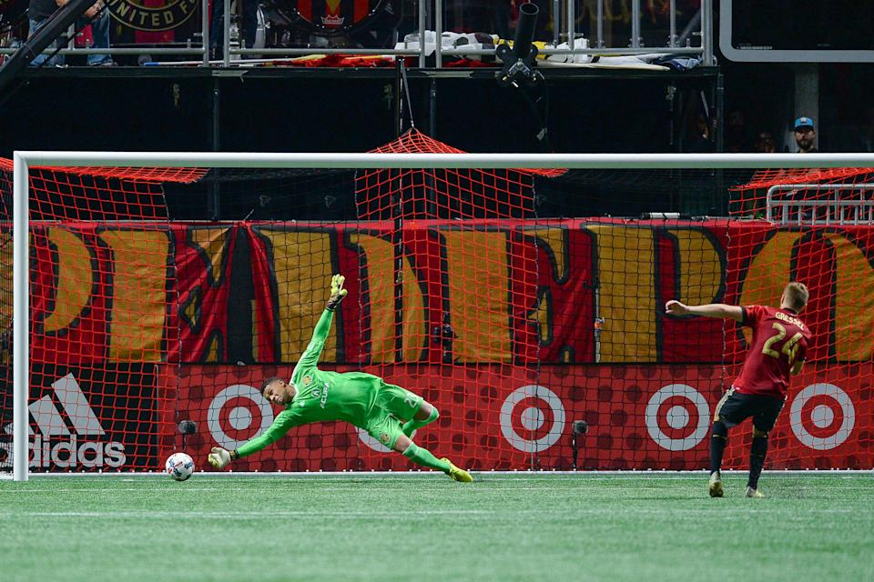 ATLANTA, GA  OCTOBER 26:  Columbus goalkeeper Zack Steffen blocks the penalty kick of Atlanta's Julia Gressel (24) during the playoff match between Atlanta United and Columbus Crew on October 26, 2017 at Mercedes-Benz Stadium in Atlanta, GA.  Columbus Crew SC defeated Atlanta United FC 3  1 on penalty kicks following a scoreless draw between the two clubs.  (Photo by Rich von Biberstein/Icon Sportswire via Getty Images)