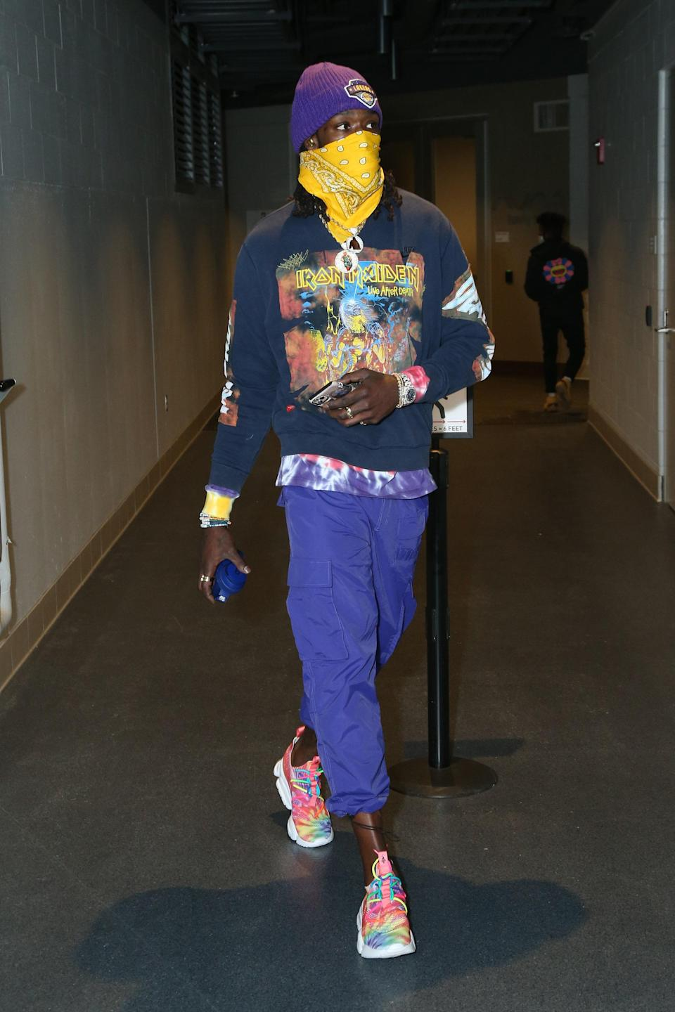 Montrezl Harrell of the Los Angeles Lakers arrives for a game against the Bucks in Milwaukee, January 21, 2021.
