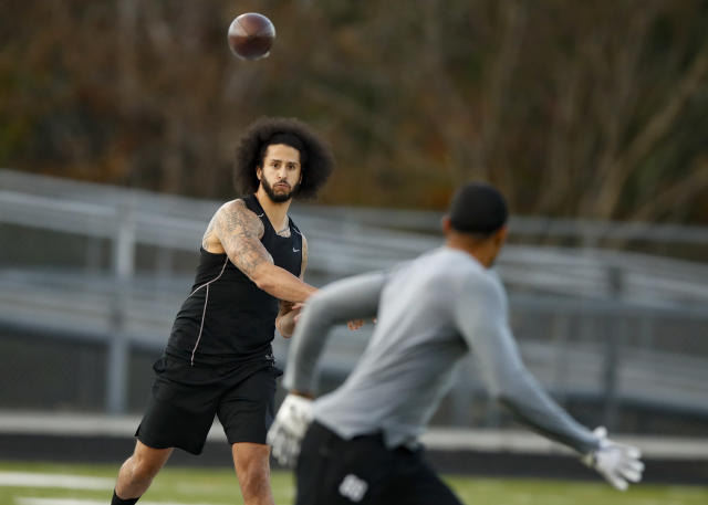 Free agent quarterback Colin Kaepernick participates in a workout for NFL football scouts and media, Saturday, Nov. 16, 2019, in Riverdale, Ga. (AP)