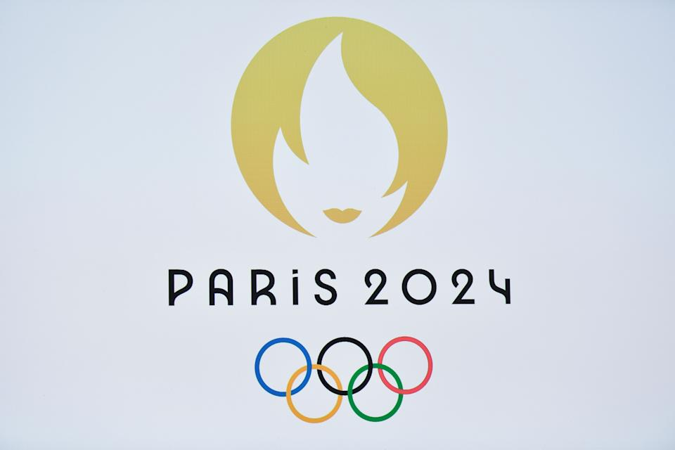 TOPSHOT - This picture taken on October 21, 2019 shows a logo during a logo presentation ceremony for Paris 2024 Olympic Games at the Grand Rex cinema in Paris. (Photo by STEPHANE DE SAKUTIN / AFP) (Photo by STEPHANE DE SAKUTIN/AFP via Getty Images)