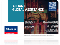 This is an image of the Allianz Assist Card, a card that aims to help travellers with online claim submissions and offers concessions like coming preloaded with S$28 EZ-Link value